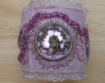 SALE pink leather bead embroidered cuff