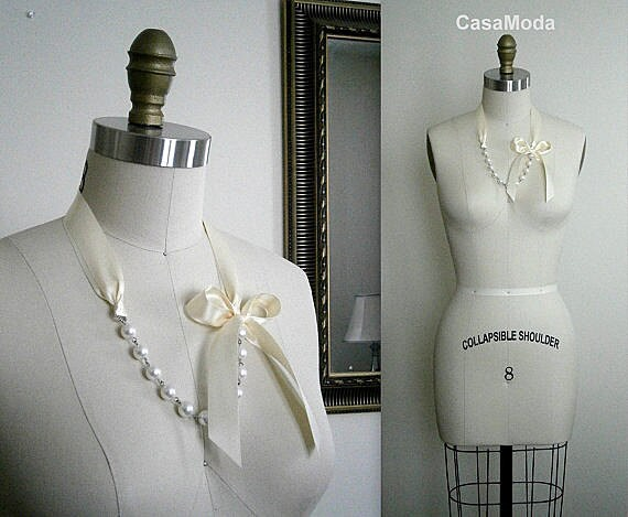 Pearl Necklace Shabby Chic Weddings Necklace With White Swarovski Crystal White Pearls And Cream Satin Ribbon