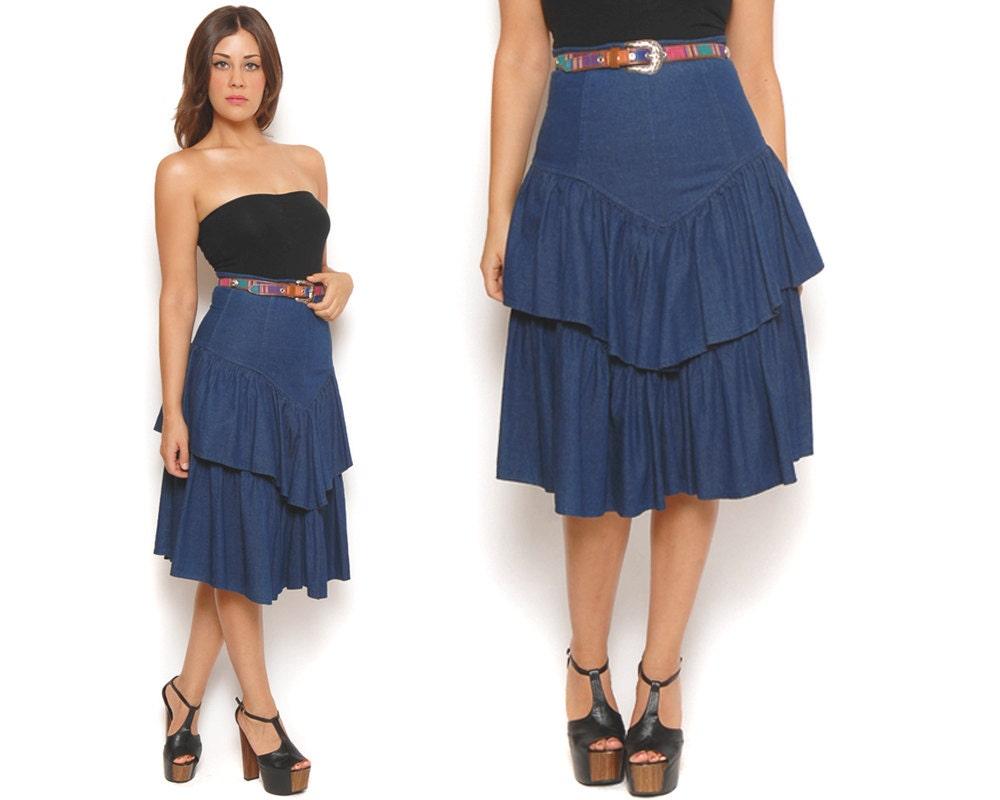 80s denim skirt blue tiered ruffle high waisted midi