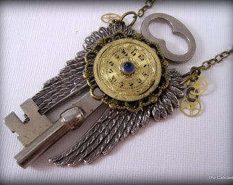 Steampunk Necklace, Gift for Her, Handmade Jewelry, Vintage Key Necklace