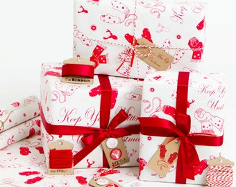 Keep Your Mitts Off Until Christmas - White Gift Wrap