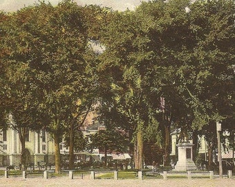 Central Square and Soldiers Monument KEENE New Hampshire 1910 cancel on vintage postcard
