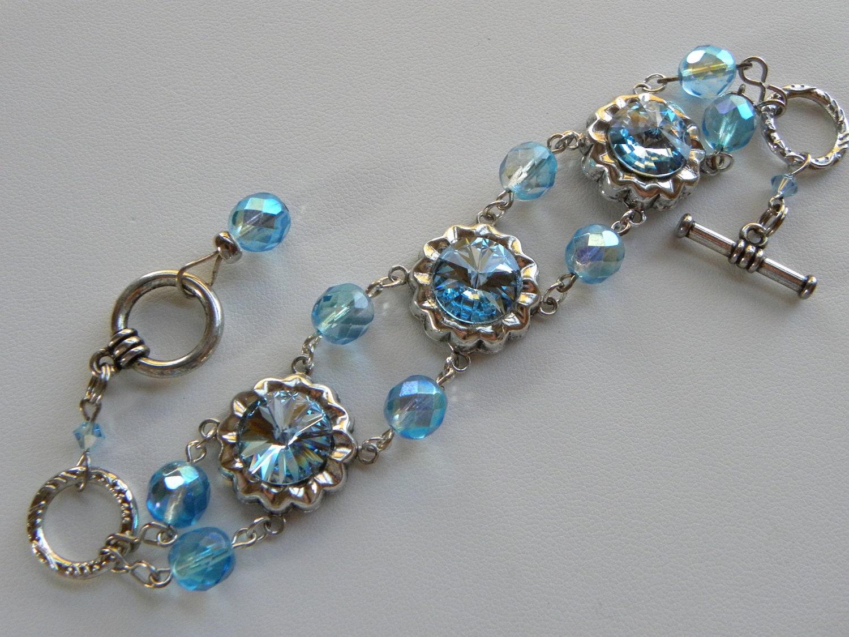Aquamarine Crystal Bracelet Aqua Blue Cuff Bracelet Blue