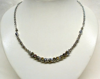 Champagne Taupe Crystal Beaded Necklace