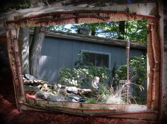 Rugged Twiggy  Birch Bark lined Home Decor Mirror