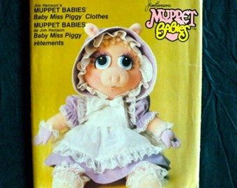 Vintage - Muppet Babies Pattern - Baby Miss Piggy - Pattern for CLOTHES ONLY - Vogue Pattern No. 9179