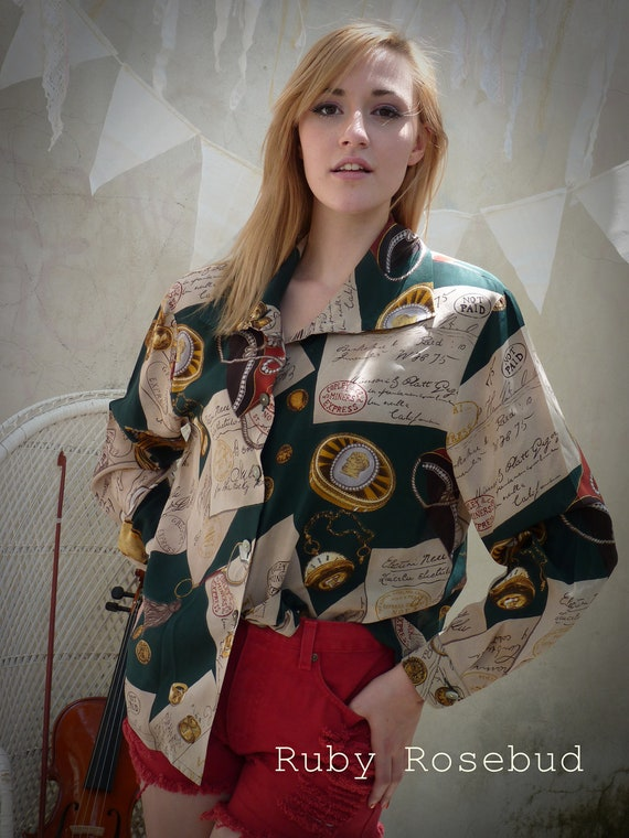 Vintage Silk Postal Letters scarf print blouse