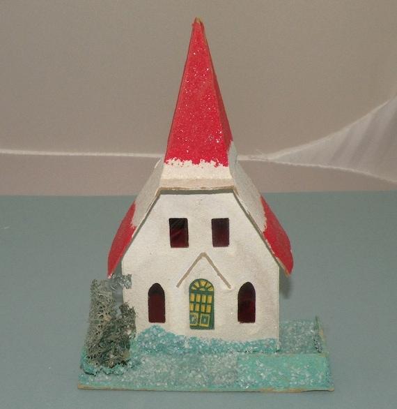 1940s putz christmas church decoration for 1940s decoration