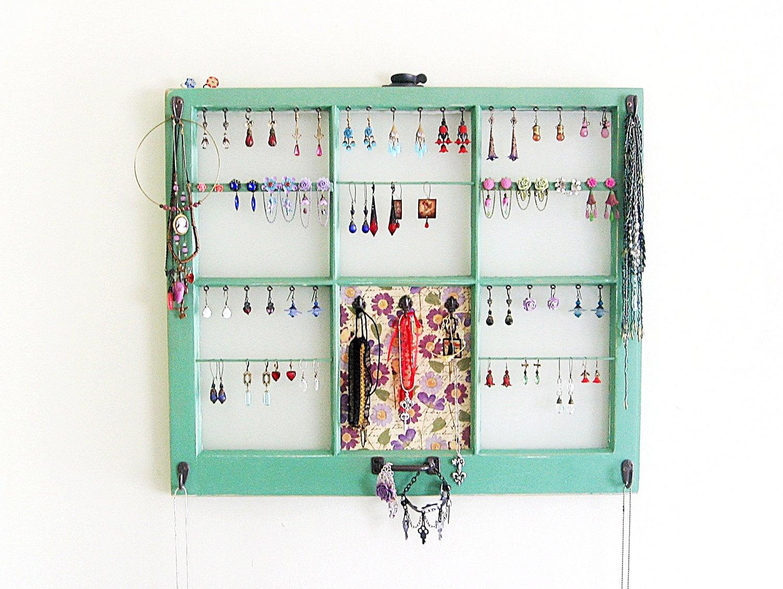 Upcycled Window Frame Green Jewelry Holder Jewelry Storage