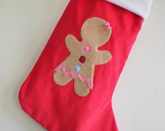 Red Corduroy Gingerbread Girl Christmas Stocking with Personalized Option