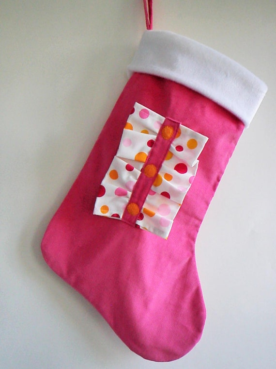 Bright pink ruffles modern christmas stocking with personalized option