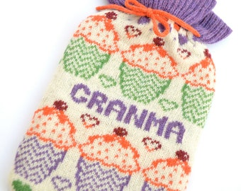 Personalised Knitted Cup Cake/ Fairy Cake Knitted Hot Water Bottle Cover/ cozy