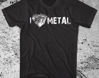 I Heart METAL Shirt Screaming Kitty I Love Metal. Printed on ultra soft Ringspun cotton