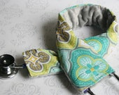 Padded Stethoscope Cover - Nurse, Doctor, Nursing Student, Medical Assistant -  Gift for Nurse - Moroccan Gray and Teal with Gray Minky