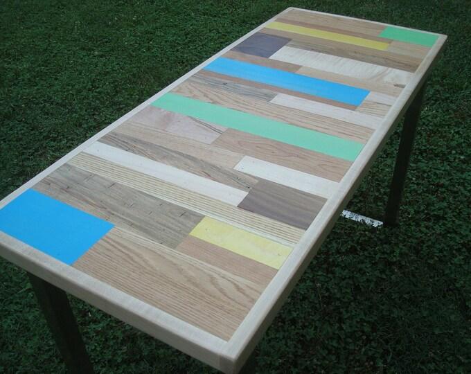Small Painted Desk, Wood Desk, Painted Table, Reclaimed Wood Table Metal Legs