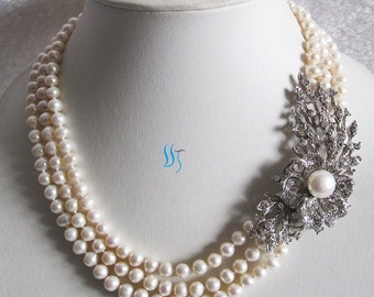 Pearl Statement Necklace, Wedding Necklace, Bridal Necklace - 18-20 inches White Pearl Statement Necklace With Flower M3 - Free shipping