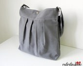 NEW- Large Canvas Sling Bag with Adjustable Strap in Dark Gray