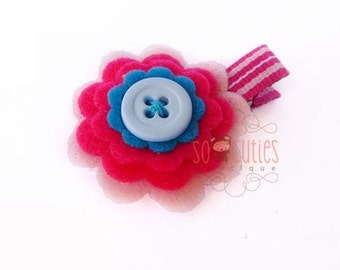 Felt flower hair clip pink and blue / baby hair clip / girl hair clip / barrette ...