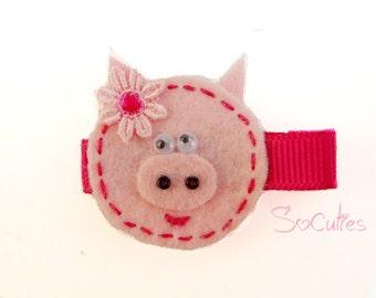Funny Pink Pig Felt hair clip / girl hair clip / girl barrette / baby hair clip...