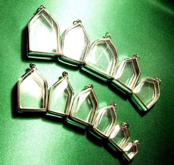 Pendant Trays, 11 Arch Containers, Shadow Box Cases, S - M - L, Silver Metal, Acrylic, Necklace, Jewelry Supplies - ONLY 3.5 DOLLARS EACH