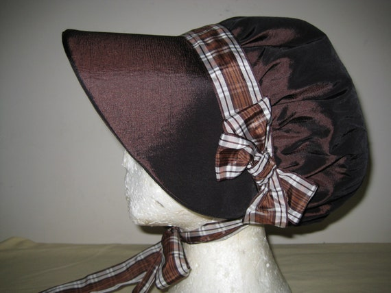 Regency Bonnet  and Reticule. Brown Taffeta, Plaid Ribbons. READY TO SHIP