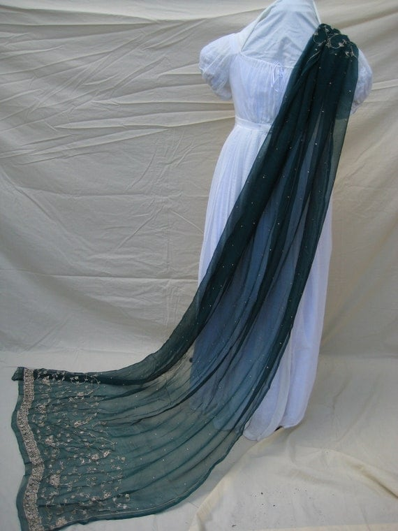 Antique Indian Shawl/Stole. Regency Style MUST SEE. Teal Blue Chiffon. Hand embroidered in gold metal threadwork.
