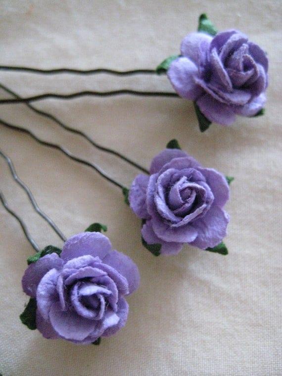 Lavender Purple Rose Hairpins x 8. Wedding, Bridal, Regency, Victorian