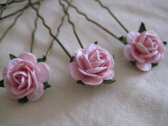 Baby Pink Rose Hairpins x 8. Wedding, Bridal, Regency, Victorian
