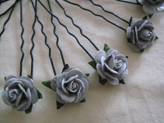 Grey Rose Hairpins x 8. Paper. Wedding, Bridal, Regency, Victorian