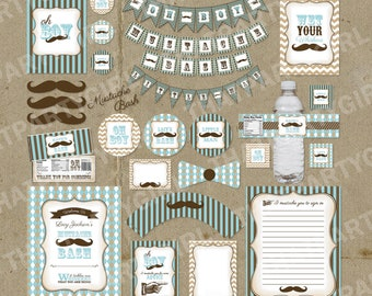 Vintage Inspired Mustache Bash Little Man Party Package - Decorations Favors - DIY digital file U Print