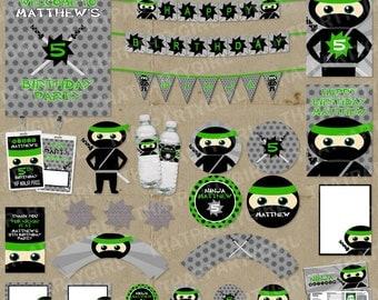 Ninja Birthday Party Package - Banners Decorations Favors - DIY Digital U Print