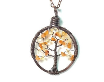 The Petite Tree of Life Antiqued Copper Necklace in Citrine and Carnelian.