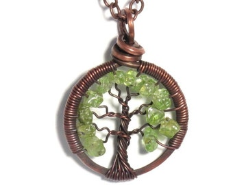 The Mini Tree of Life Antiqued Copper Necklace in Peridot Stone.