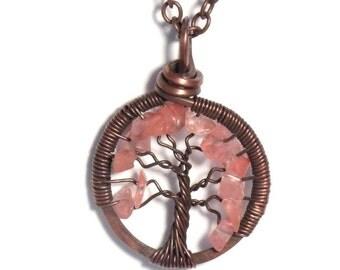 The Mini Spring Tree of Life Antiqued Copper Necklace in Cherry Quartz Stone.