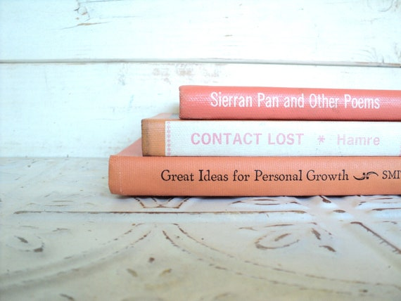 Pastel Coral & Orange Books Instant Library Collection Decorative Books Photography Props