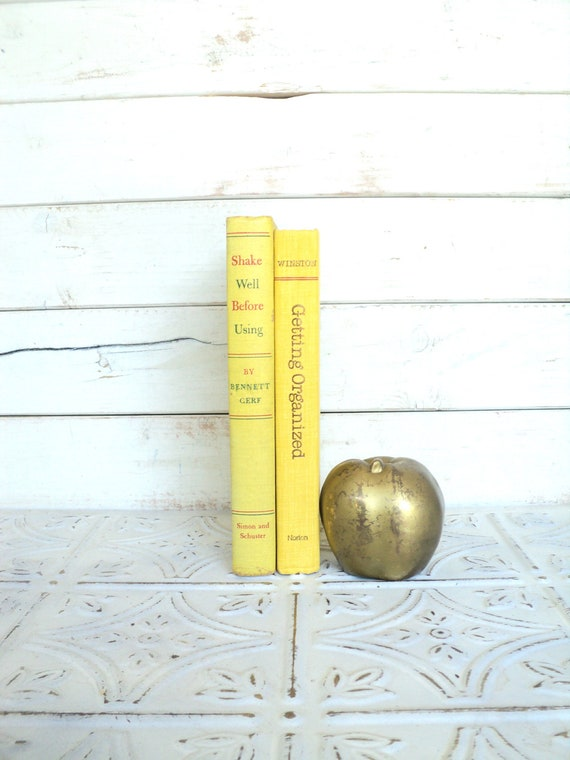 Yellow Instant Library Collection Vintage Decorative Books by Color Bundle Photography Props Get Organized School Books