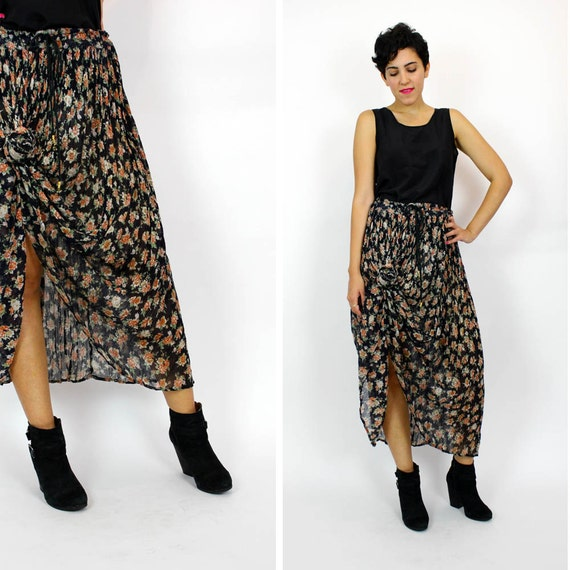 floral gauze maxi skirt / knotted