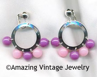 Sarah Coventry CARNIVAL Earrings - Purple & Pink - 1971  SALE 5.00