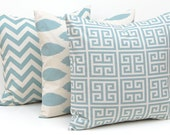 Decorative Throw Pillow Covers Blue on Natural Greek Key, Chevron and Ikat Pillow Covers 20 x 20 Inches Set of Three