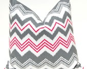 Chevron Pillow Covers Throw Pillows Accent Pillows Cushion Covers 16 x 16 Inches Berry Pink and Gray Chevron