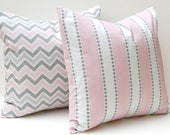 Baby Pink Pillows, Chevron Pillow Decorative Throw Pillow Covers Baby Girl Nursery 18 x 18 Pink and Gray Chevron and Stripe