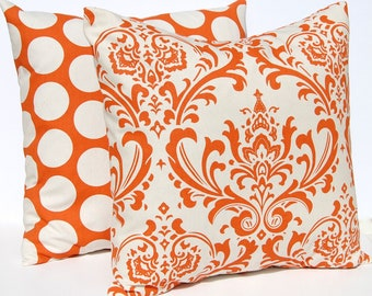 Decorative Throw Pillow Covers 18 x 18 Autumn Decor Pair of Two in Sweet Potato Orange and Natural - Damask and Dots