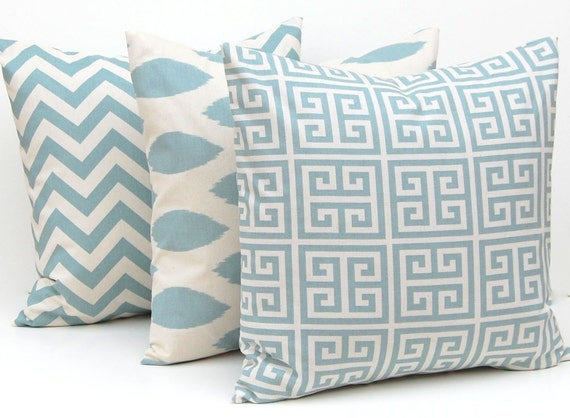 Pillows, Pillow Cover, Throw Pillow Covers Village Blue on Natural Greek Key, Chevron and Ikat Decorative Pillow Covers 16 x 16 Inches Three