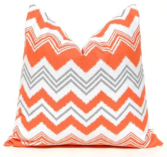 Items similar to Orange Chevron Pillows Decorative Throw Pillow Covers Cushion Covers 20 x 20 ...