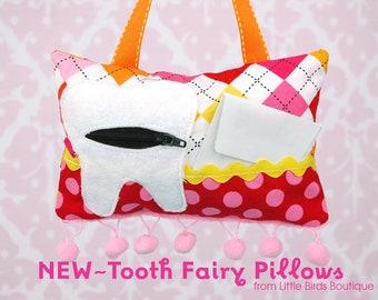 Tooth Fairy Pillow- In Remix Fabric by Ann Kelle for Robert Kaufman, Argyle in Garden