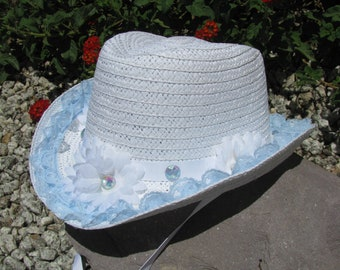 Cowgirl Hat -  White and Baby Blue- Girls Cowboy Hat - Girls Western Theme Birthday Party - Style CB44