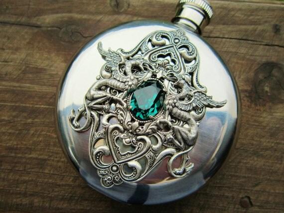 HIP FLASK  Emerald  Swarovski Crystal  and Dragons