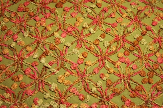 Rare Pink, Tangerine and Avocado Green Cabin Crafts Chenille Bedspread Fabric - 27 x 21 Inches
