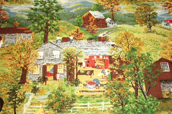 "Unused Mint Rare Grandma Moses ""Halloween"" Vintage Barkcloth - 49 x 16 Inches, Two Full Repeats"