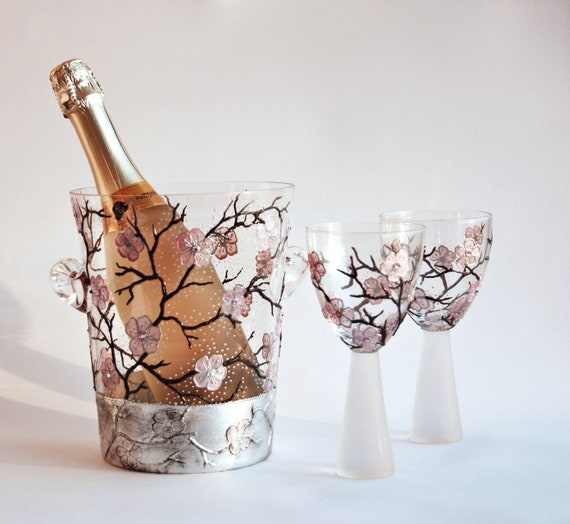 Glass Champagne Bucket Hand Painted  Cherry Blossom Sakura Swarovski Crystals Silver Aging